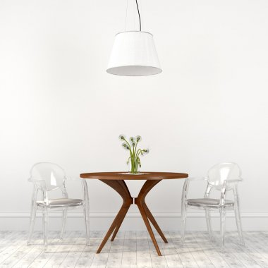 Fashionable transparent chairs in the dining room interior