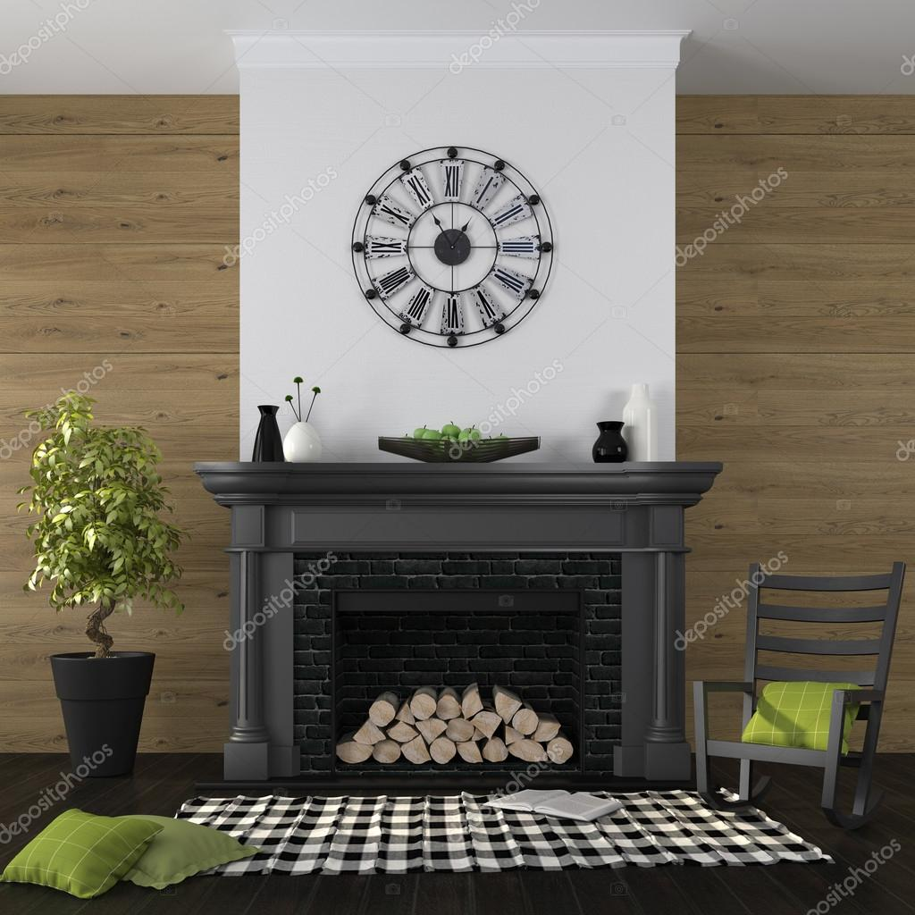 Classic Black Fireplace On A Background Of A Wall From Boards And An  Emphasis On Green Decor U2014 Foto Von JZhuk