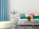 Fotografia soggiorno con cuscini colorati