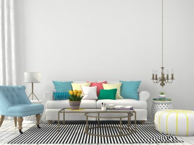 White interior of living room with colorful pillows stock vector