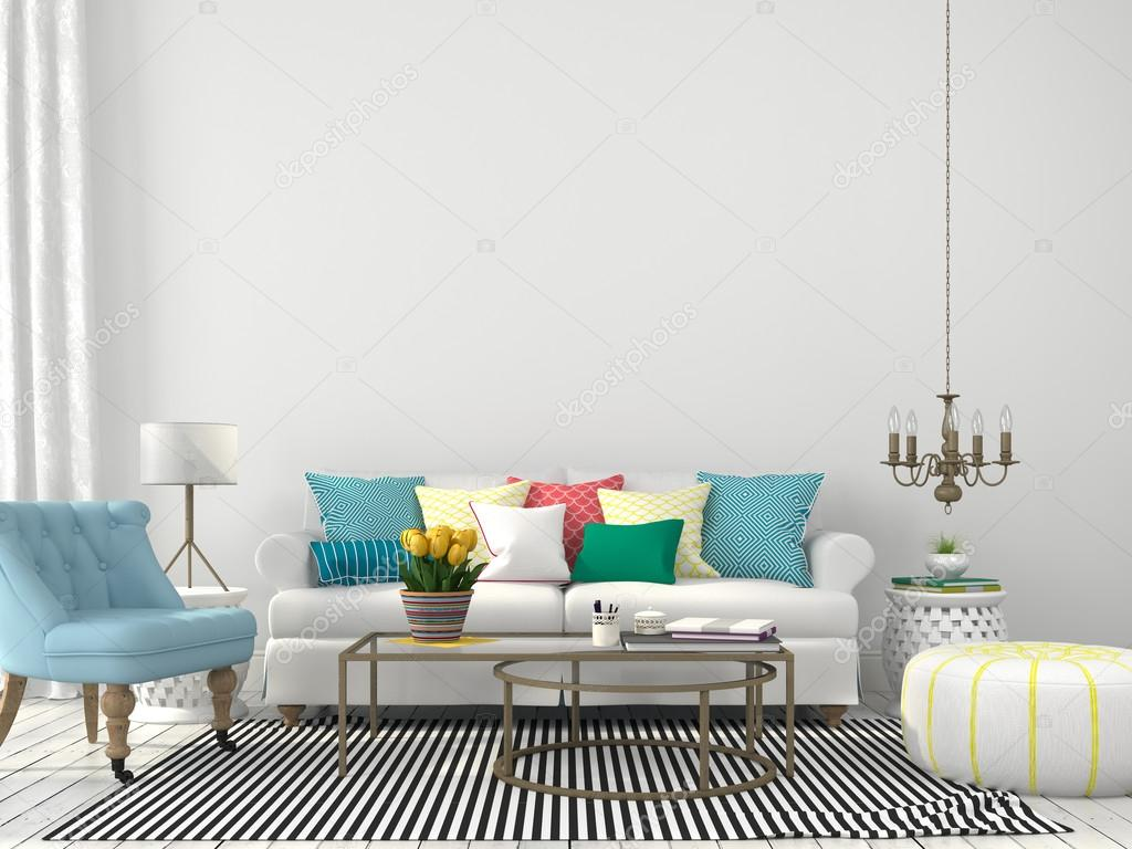 Kleurrijke Witte Woonkamer : Woonkamer met kleurrijke kussens u2014 stockfoto © jzhuk #75766761