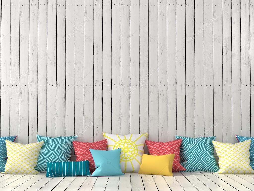 Witte Planken Aan De Muur.Kleurrijke Kussens En Muur Met Witte Planken Stockfoto C Jzhuk