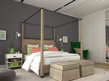 Modern bedroom with colorful decoration