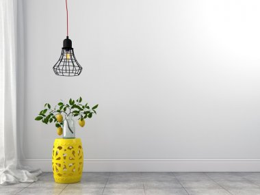 Yellow stool and wire chandelier