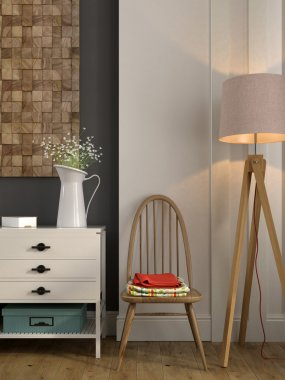 Stylish composition with a white chest of drawers and a chair