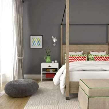 Fragment of modern bedroom with colorful decoration