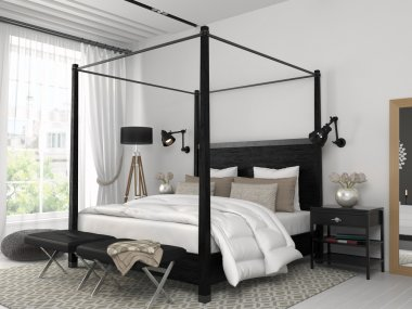 White bedroom with black bed