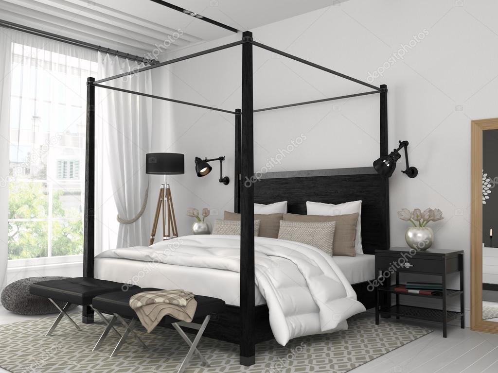 Weißes Schlafzimmer Mit Schwarzen Bett U2014 Stockfoto