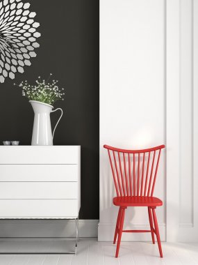 Red chair near the white chest of drawers