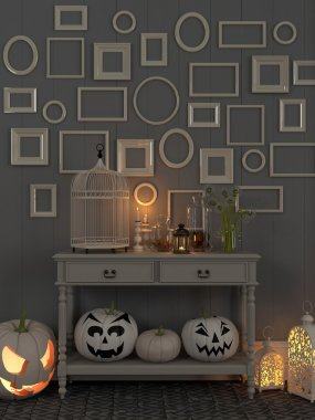 Beige table with luminous decorations for Halloween