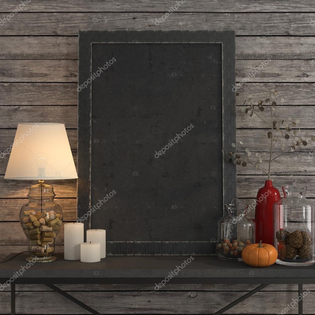 Se burlan del marco del cartel en la mesa de metal — Foto de stock ...