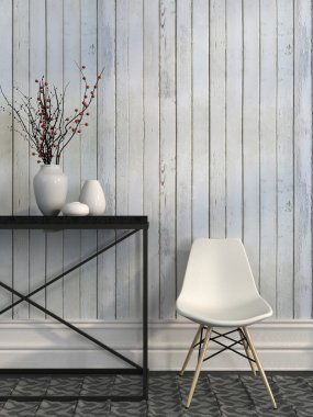 White chair and metal table against the wall of white boards