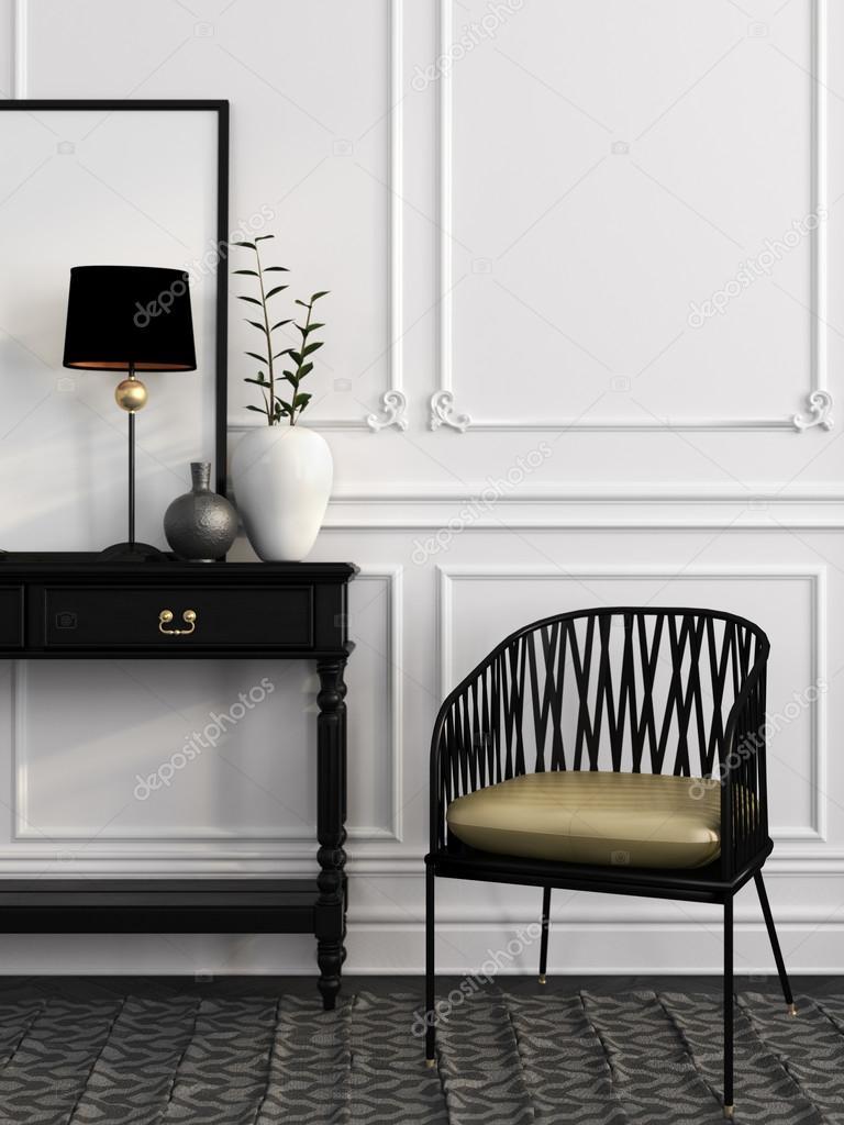 Witte Tafel Zwarte Stoelen.Zwarte Stoel En Tafel Tegen Een Witte Muur Stockfoto C Jzhuk 91597046