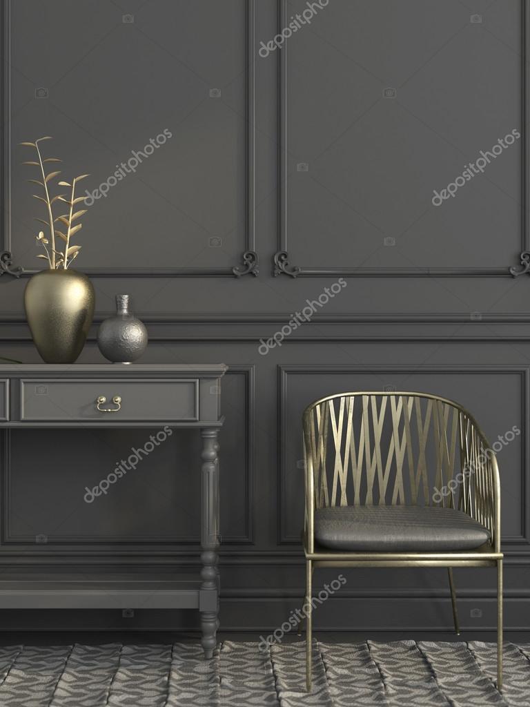Goldenen Stuhl in grau Interieur — Stockfoto © JZhuk #91597112