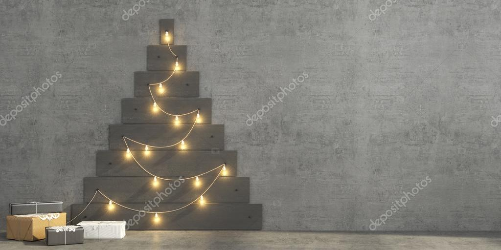 Christmas Tree Made Of Lights On Wall christmas tree made of gray painted planks — stock photo © jzhuk
