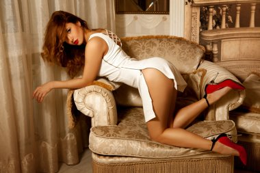 Seductive brunette woman in doggy style pose on chair