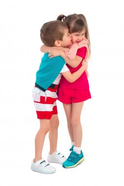 Little kids on a white background
