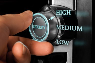 man choosing high level of security