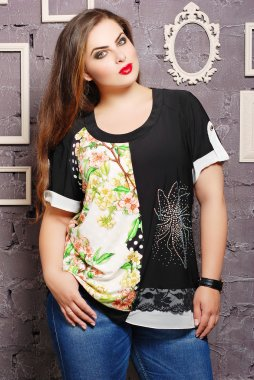 Plus size woman in casual clothes
