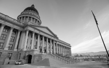 Security Vehicle Sunrise Landscape Utah State Capital Architecture