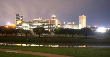 Fort Worth Texas Downtown Skyline Trinity River Late Night