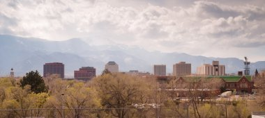 Colorado Springs Downtown City Skyline Dramatic Clouds Storm Approaching