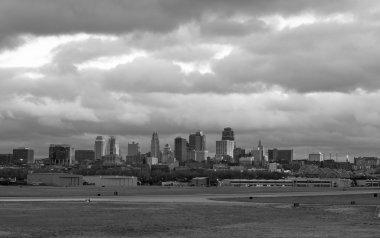 Stormy Black and White Horizontal Composition Kansas City Downto