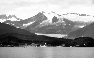 Ferry Boat View Approaching Port Juneau Alaska United States