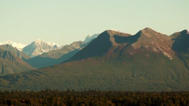 Mountains of the Denali Range Tight Shot Panning Across