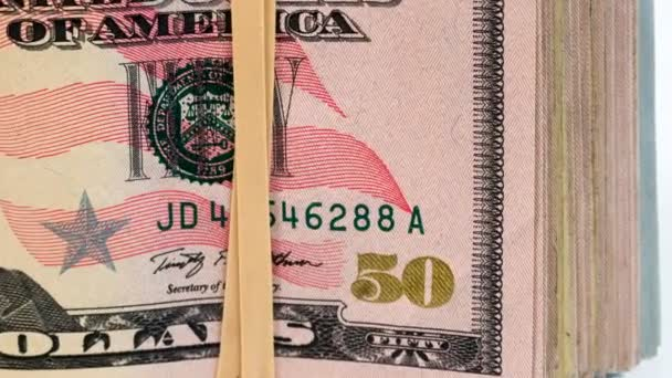 Folded Wad Fifty Dollar Bills American Money Cash Tender