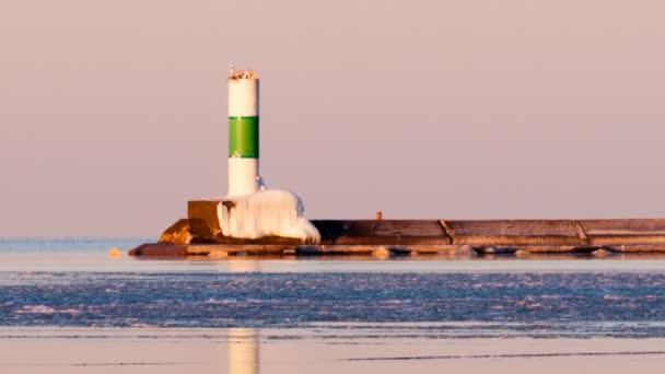 Ranní světlo Harbor vlnolamu maják Lake Superior Minnesota Usa