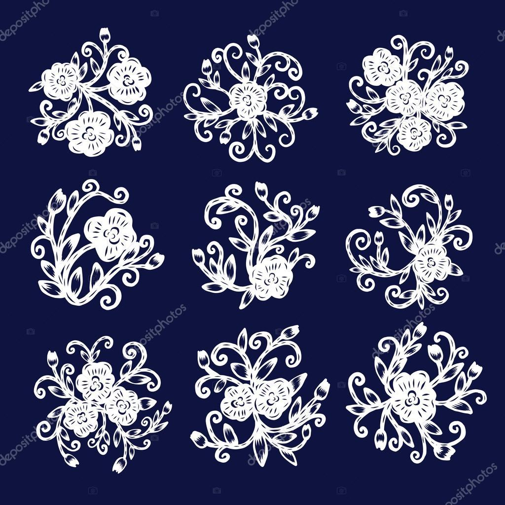 isolé de chinois papier découpage, papier fleur, coupe, illustration