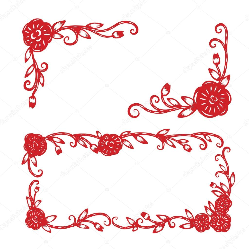 Chinese Paper Cutting Flower Paper Cutting Isolated Illustration