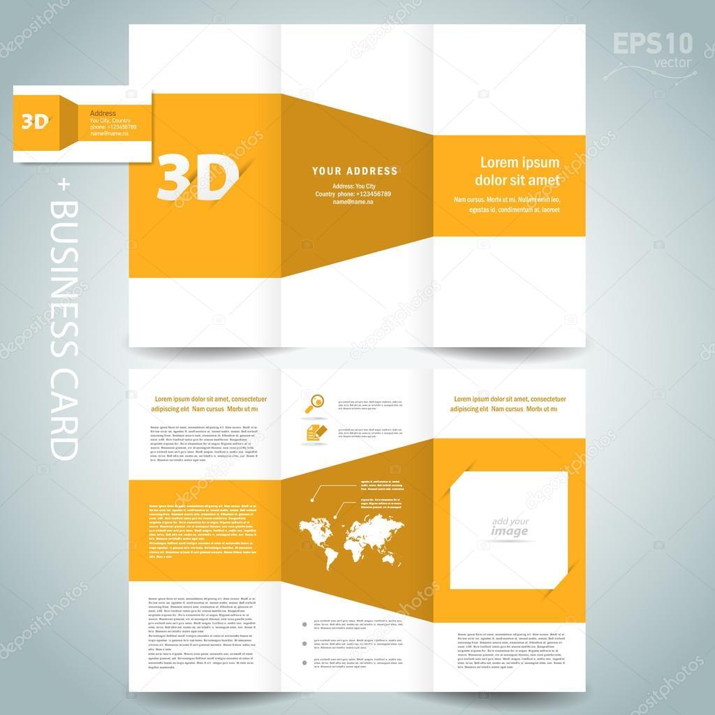 D Dimensional Design Brochure Template Folder Leaflet Yellow - 3d brochure template