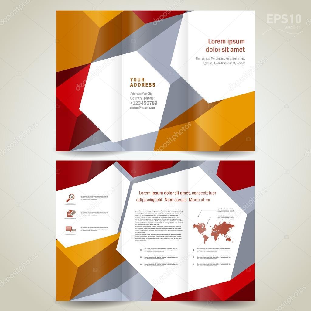 Dimensional 3d background brochure design template tri for 3d brochure design