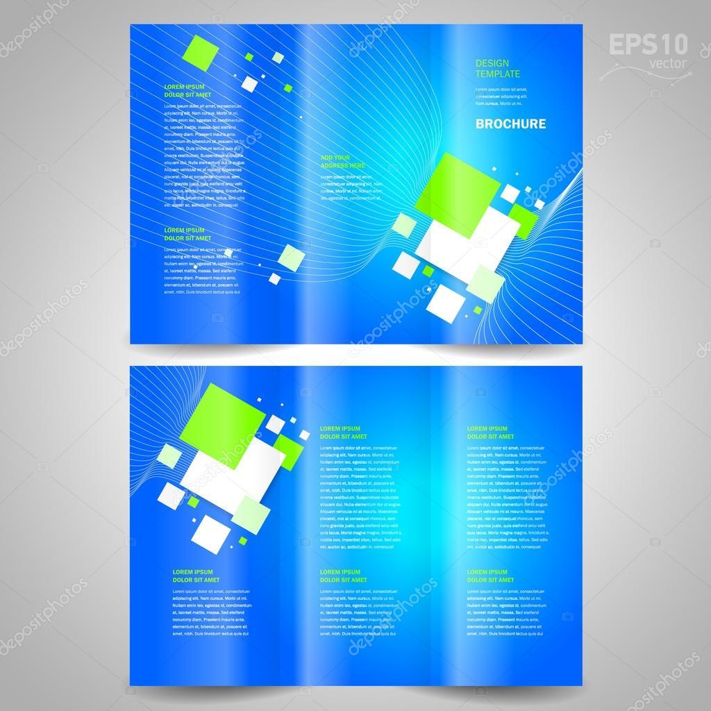 Folleto diseño plantilla triple vector tecnología fondo azul ...