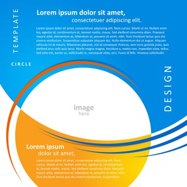 mock-up design template geometric abstract blue yellow backgroun