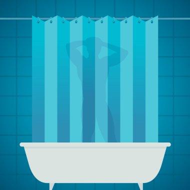 Man silhouetter in shower bathing bathroom