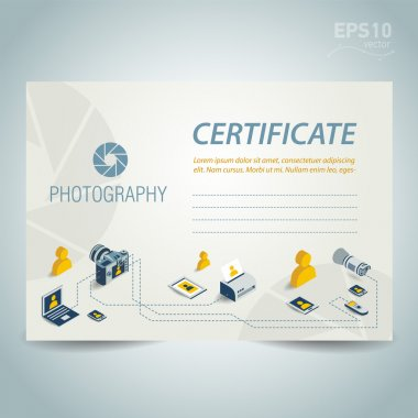 photography certificate template design vector photo camera prof