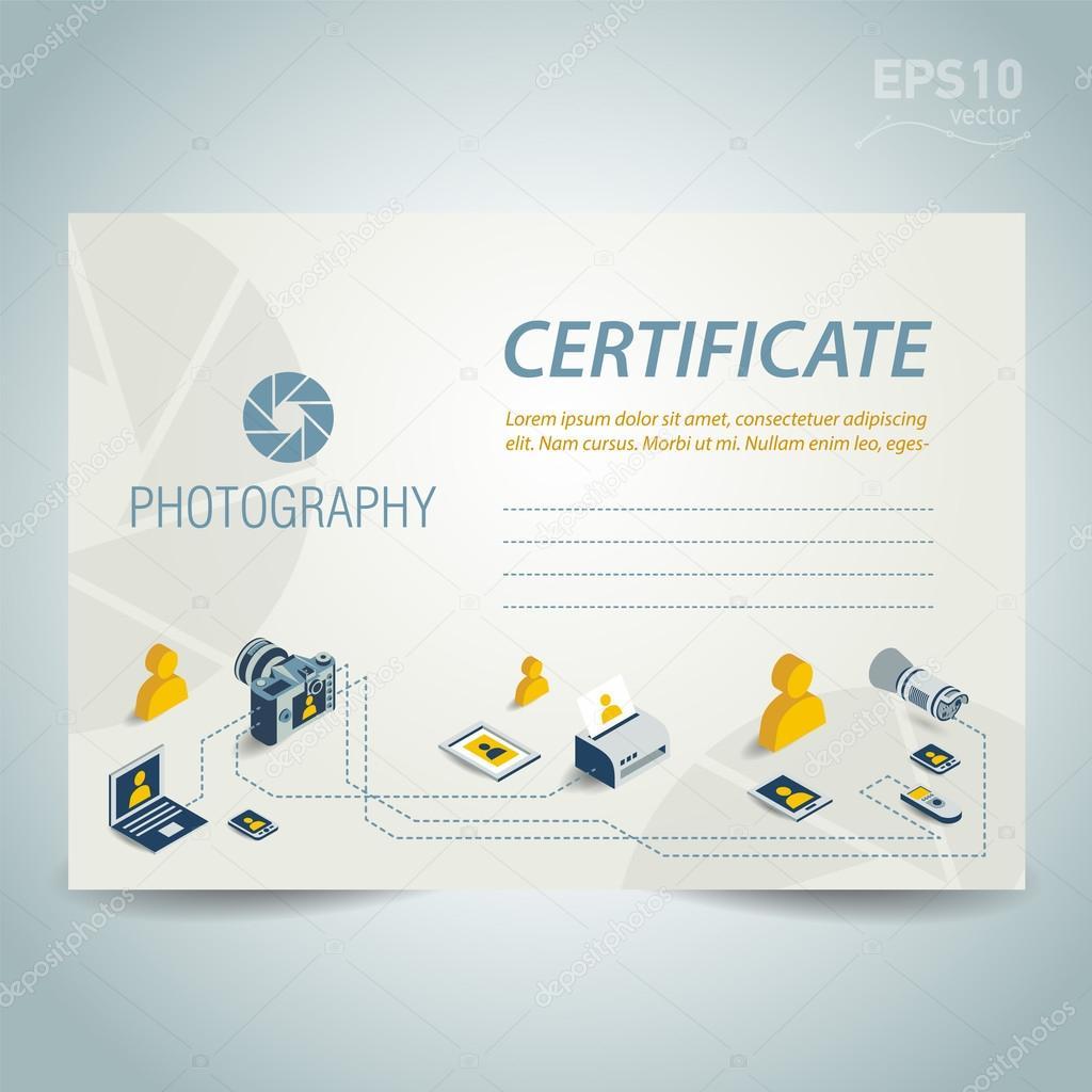 Fotografie Zertifikat Vorlage Entwurf Vektor Foto Kamera Prof