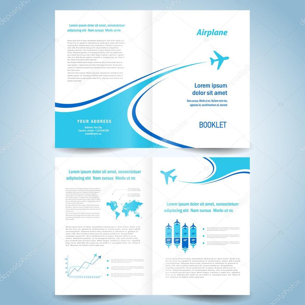 brochure design template booklet catalog airplane flight line