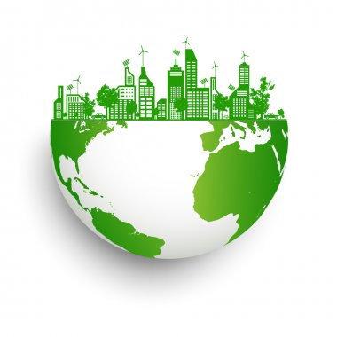 Green earth with city energy