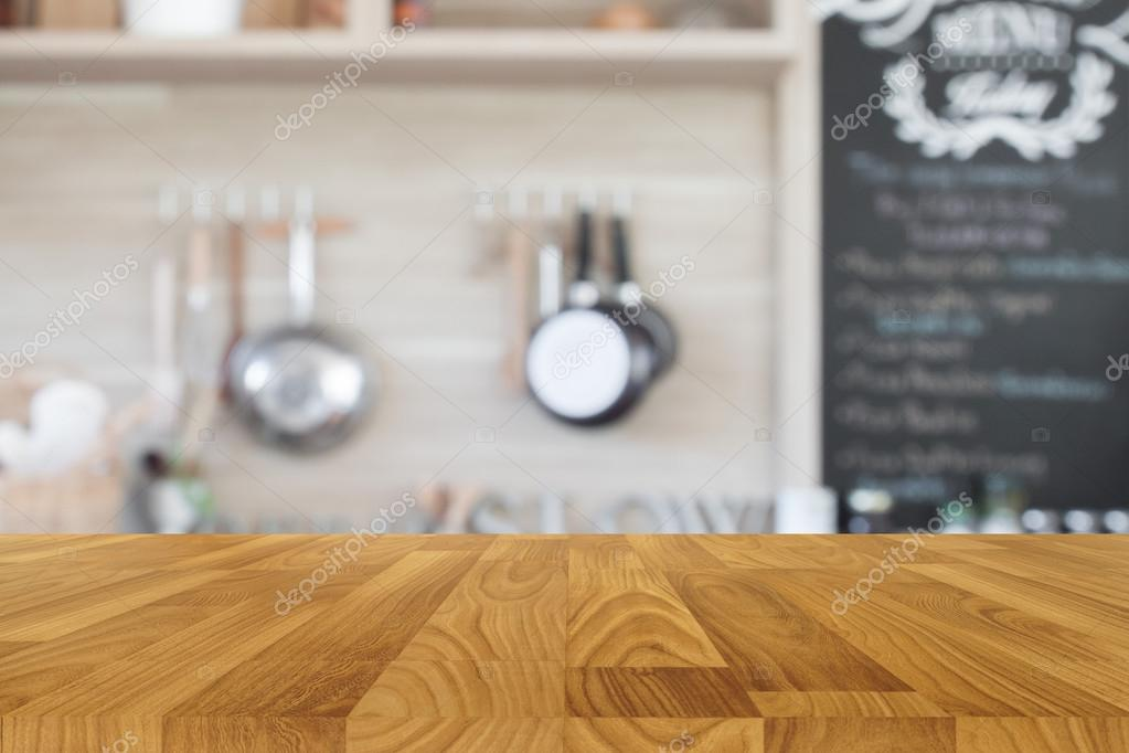 table top background. Wood Table Top With Blur Kitchen Background , Empty Wooden \u2014 Stock  Photo O