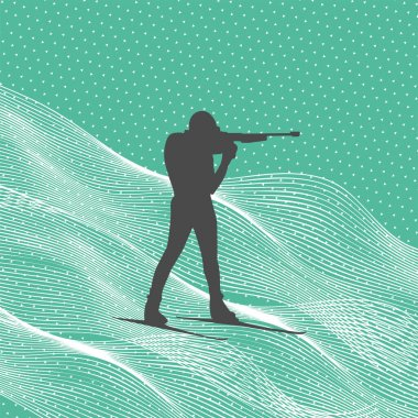 Shooting biathlete vector silhouette. Biathlonist with biathlone rifle background.Winter sports world championship illustration. icon