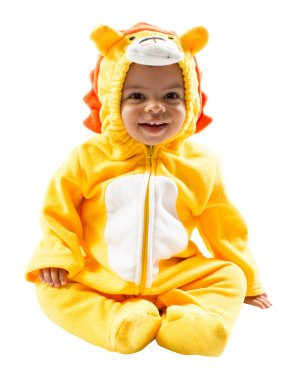 Black child boy in lion carnival suit