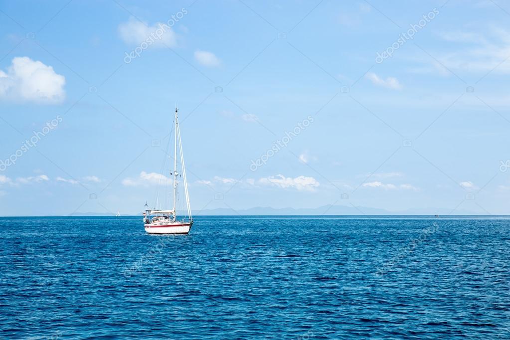 View of Maya Bay with sailboat