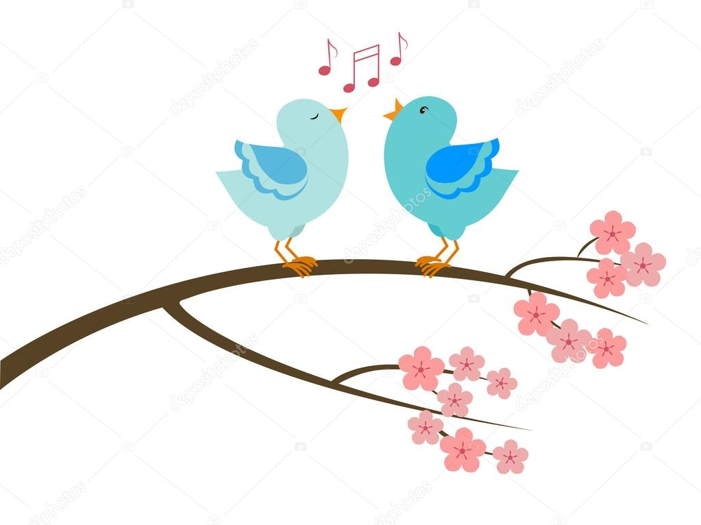 A stylized tree branch in bloom with a couple of singing birds. Vector illustration.