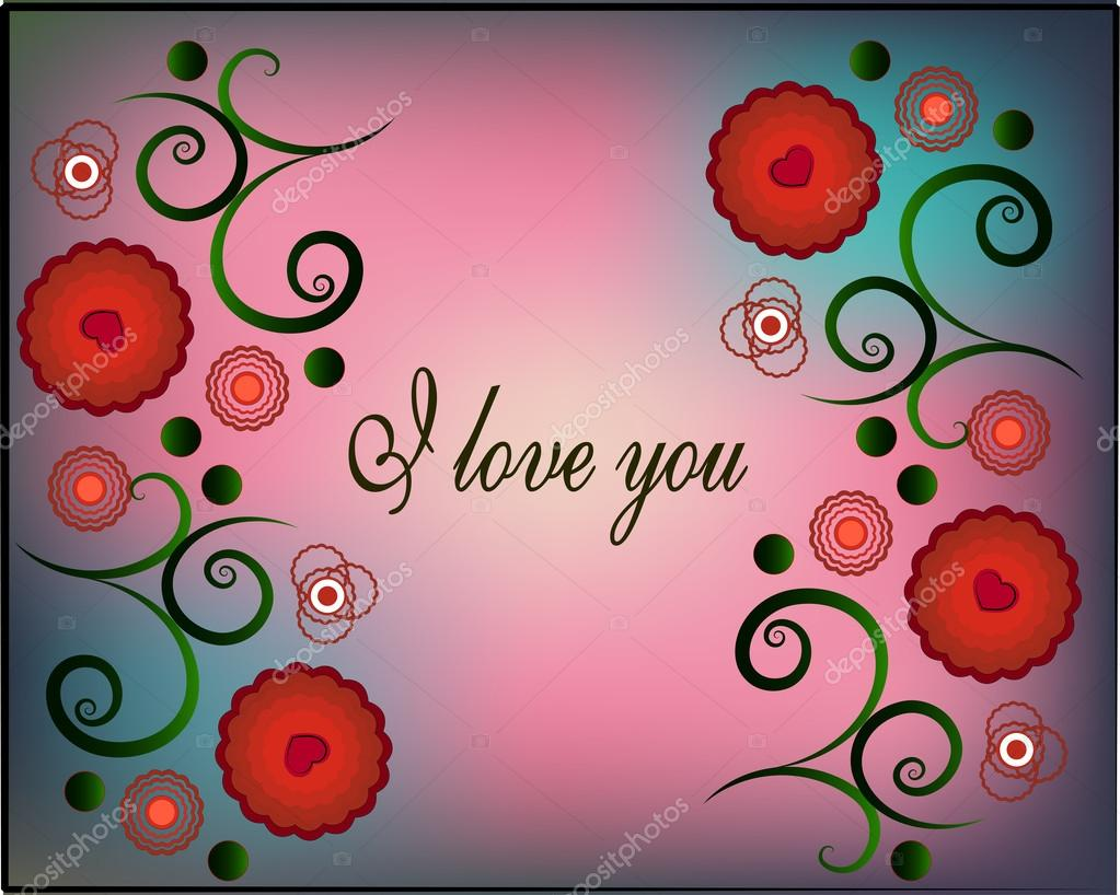 Nice Greeting Card With Words Of Love Swirls And Flowers Stock