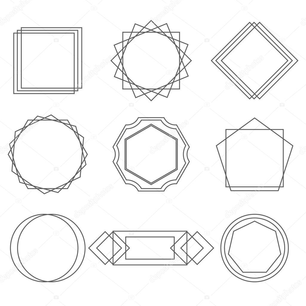 Mono línea marcos de diseño elegante elementos distintivos, vector ...