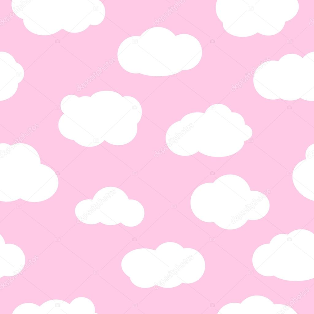Pink sky with clouds seamless pattern vector.